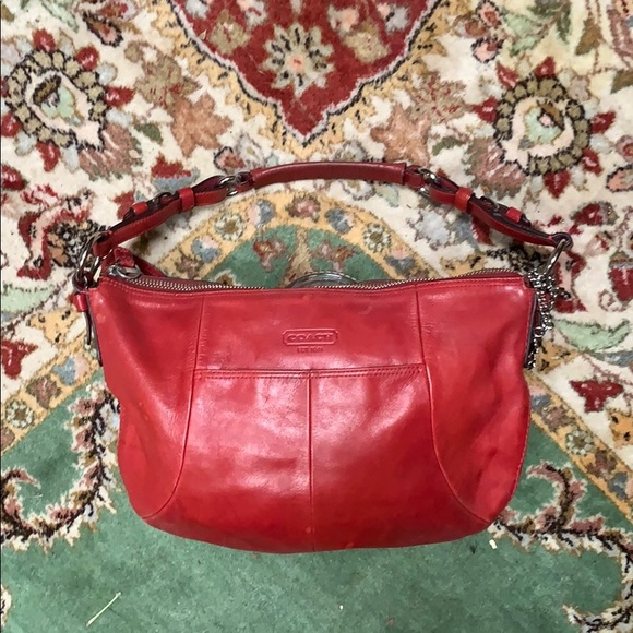 Coach Handbags - Authentic COACH red leather Med size hobo Handbag